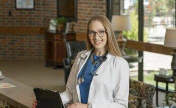 Nurse using ipad