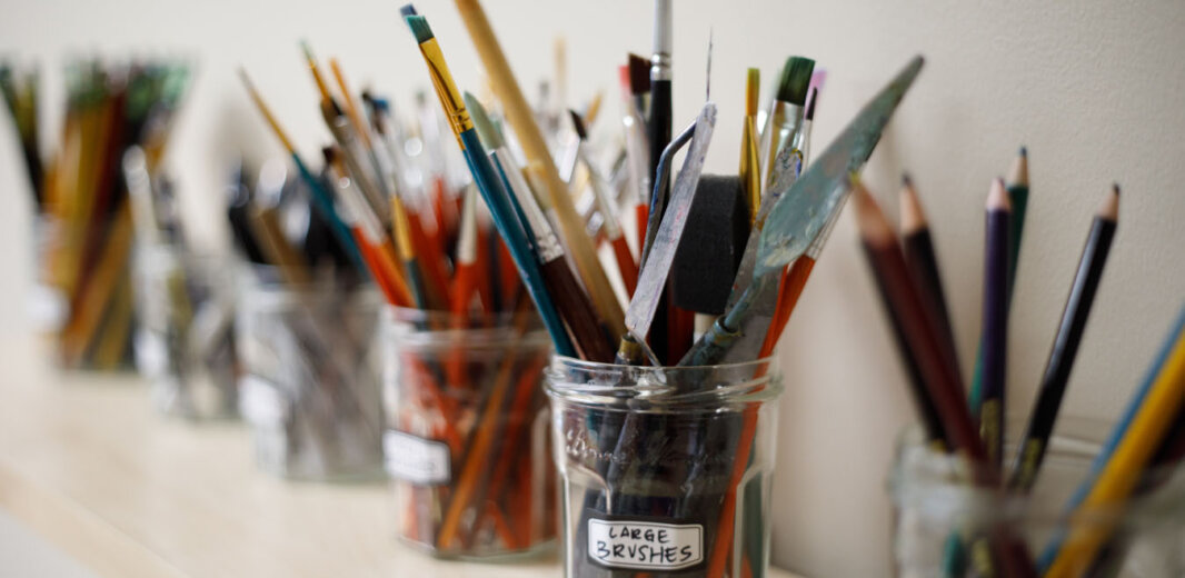 Paint brushes and other art supplies