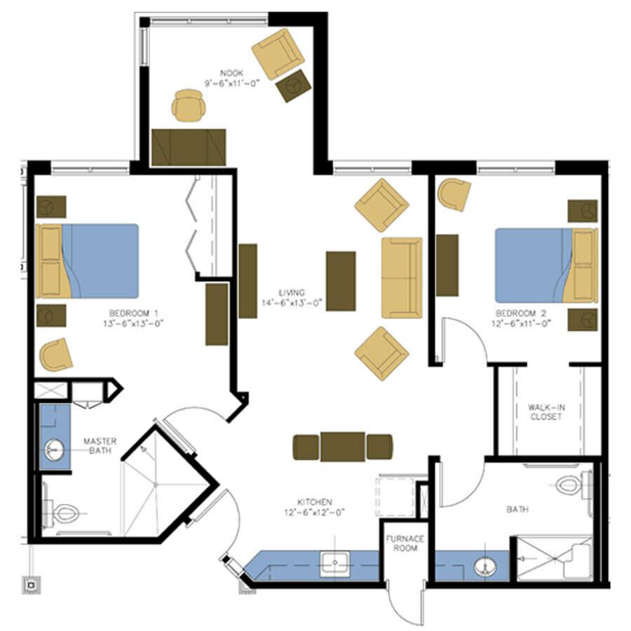 Assisted living 2 bedroom plus floor plan