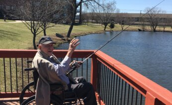 Resident fishing off the dock