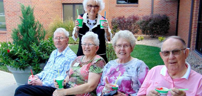 Group of people enjoying slushies