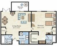 Classic 1 BR Apartment Floor Plan