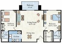 Classic 2 BR Apartment Floor Plan