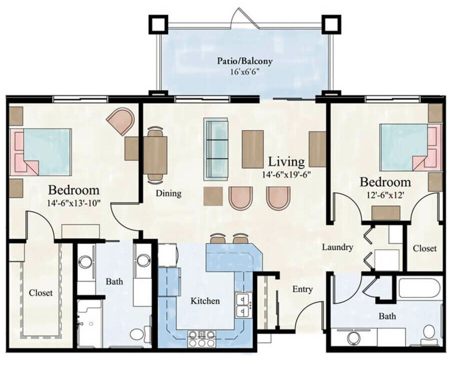 Continental 2 bedroom apartment floor plan