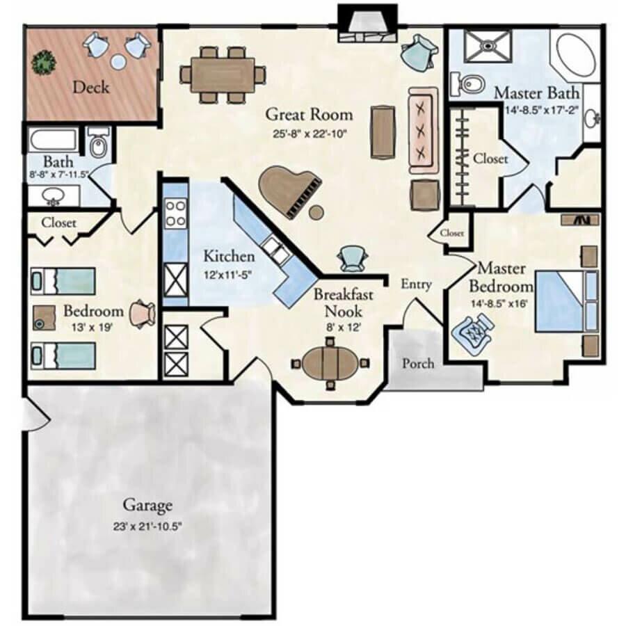 Florentine 2 bedroom villa floor plan