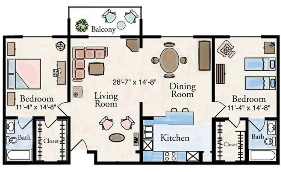 Grand classic 2 bedroom apartment