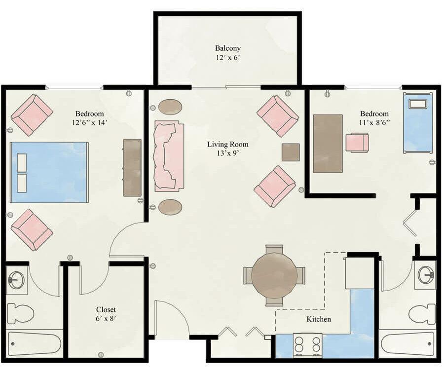 Martinhaus 2 bedroom apartment floor plan