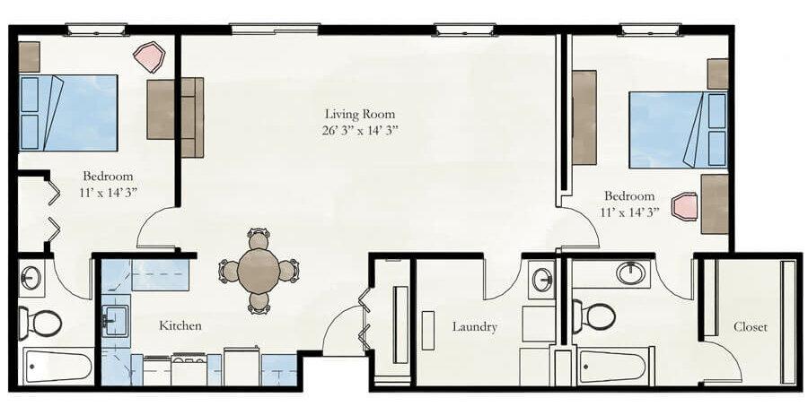 Milan 2 bedroom apartment floor plan