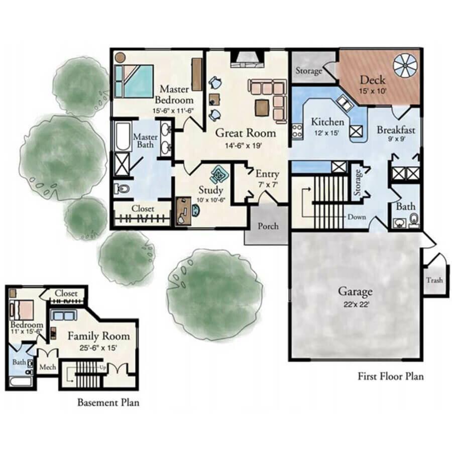 Milan 2 bedroom villa floor plan