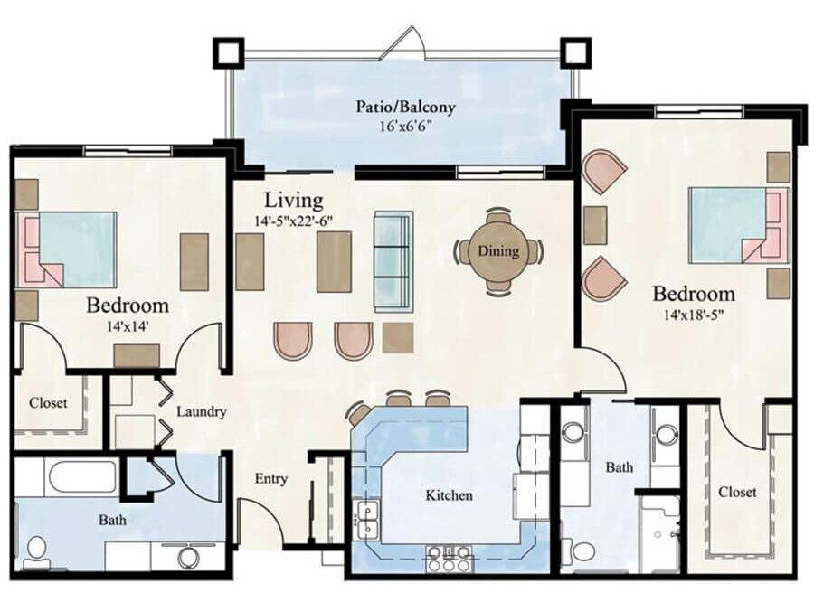 Noble 2 bedroom apartment floor plan