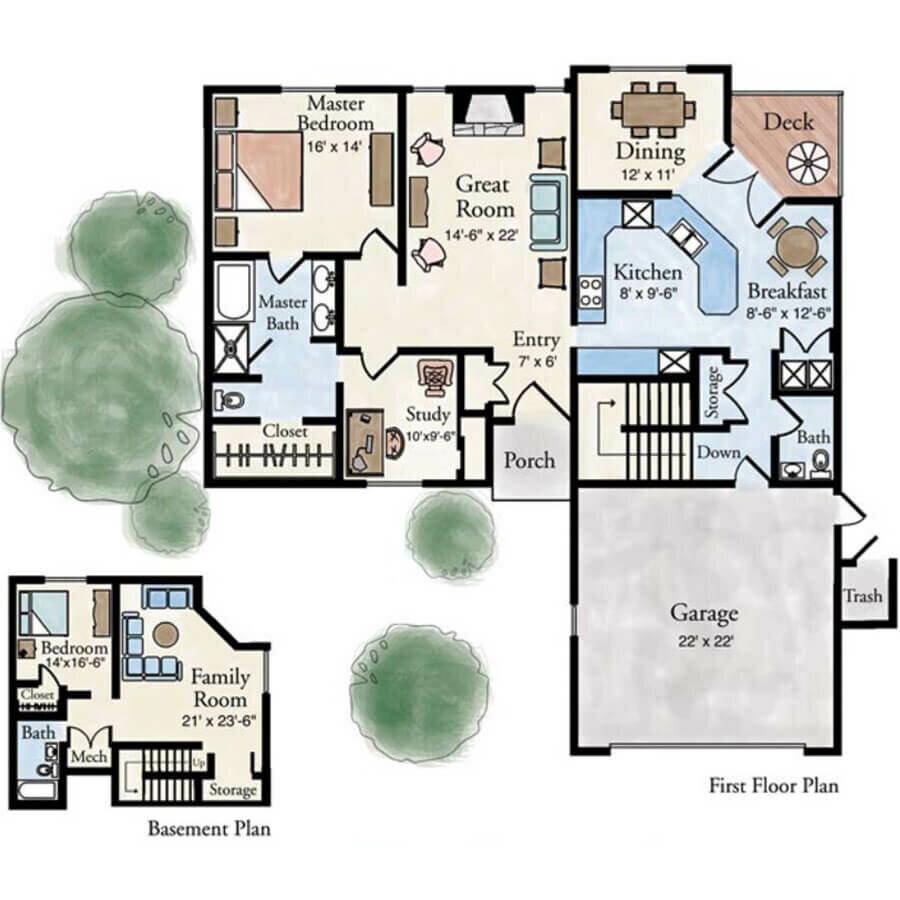 Roma 2 bedroom villa floor plan