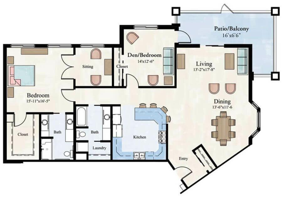 Royalle II 2 bedroom apartment floor plans