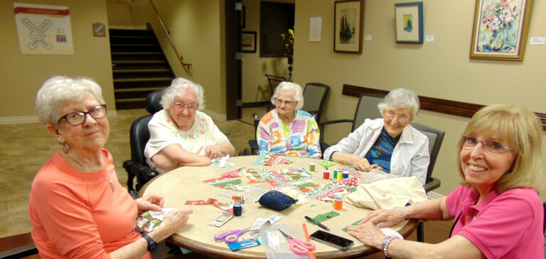 Arts and crafts activity with a group of women