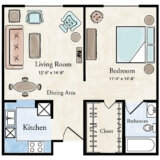 Traditional 1 BR Apartment Floor Plan
