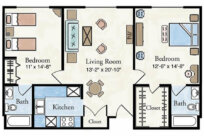 Traditional 2 BR Apartment Floor Plan