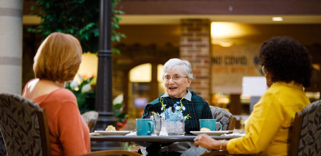 residents enjoying dessert