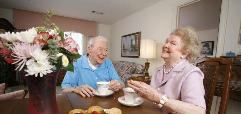 residents enjoying tea